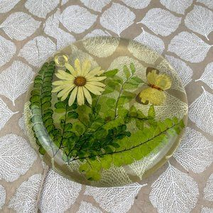Vintage Lucite Acrylic Resin Fern Floral Butterfly